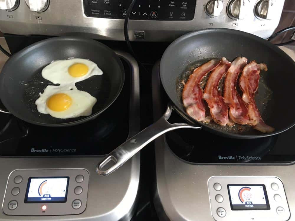 Bacon and eggs prepared on the Breville PolyScience Control Freak.