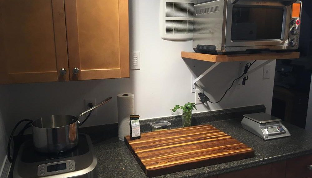 Basement kitchen with the Breville PolyScience Control Freak.