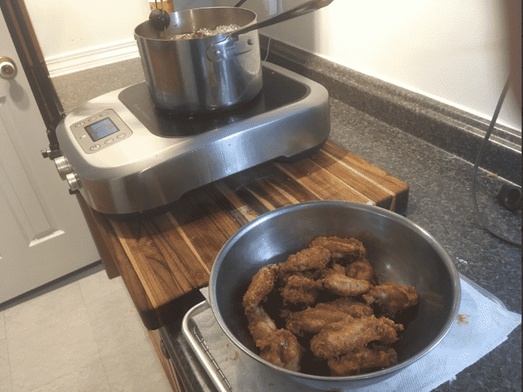 Deep frying a second batch of wings on the Breville PolyScience Control Freak