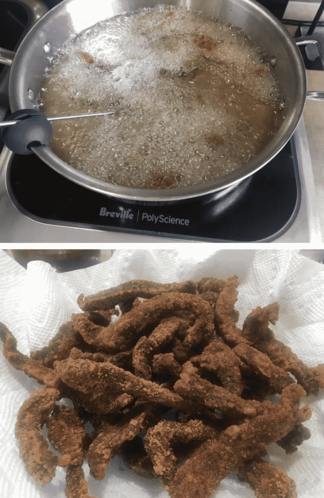 Deep fried beef strips for Calgary ginger beef.