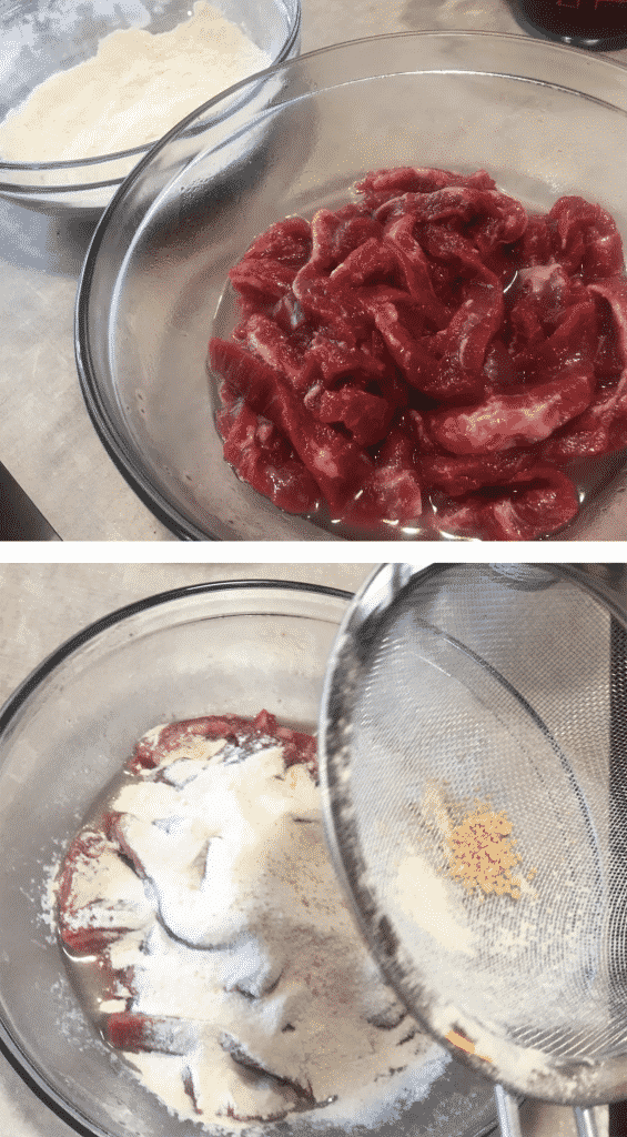 Incorporating the marinade into the batter for Calgary Ginger Beef.