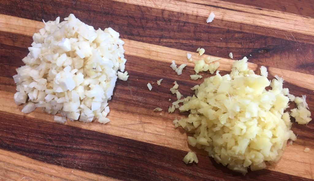 Minced garlic and ginger.