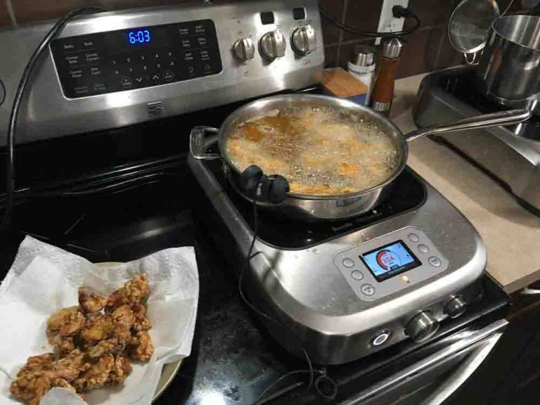 Deepfrying chicken for Chinese orange chicken on the Breville PolyScience Control Freak.