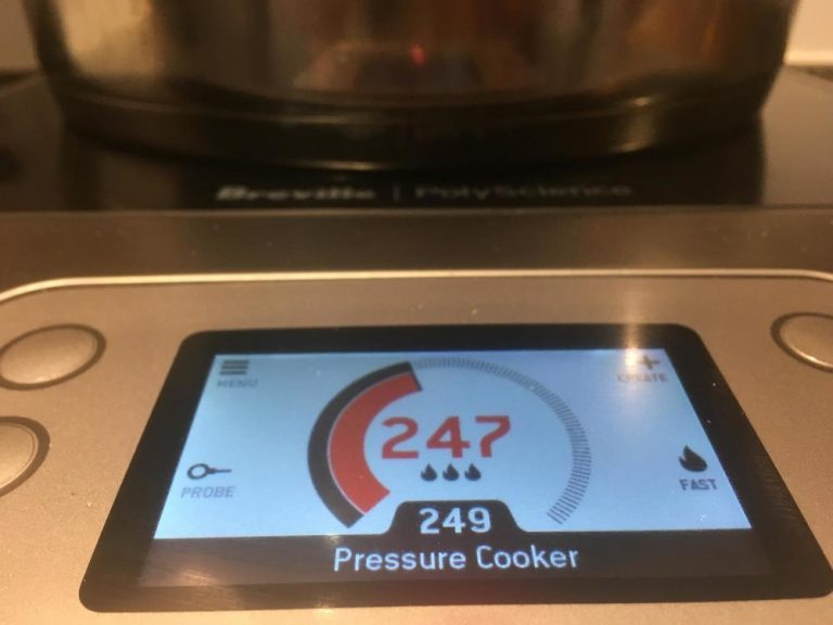 Stove top pressure cooker on the Breville PolyScience Control Freak.