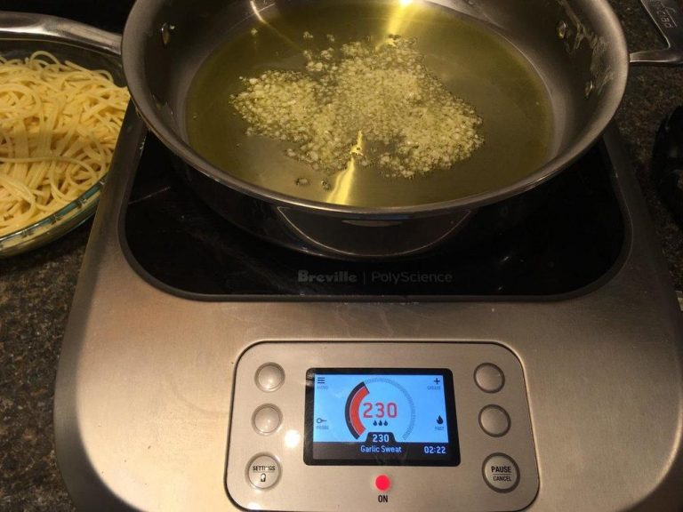 Sweating garlic on the Breville PolyScience Control Freak.