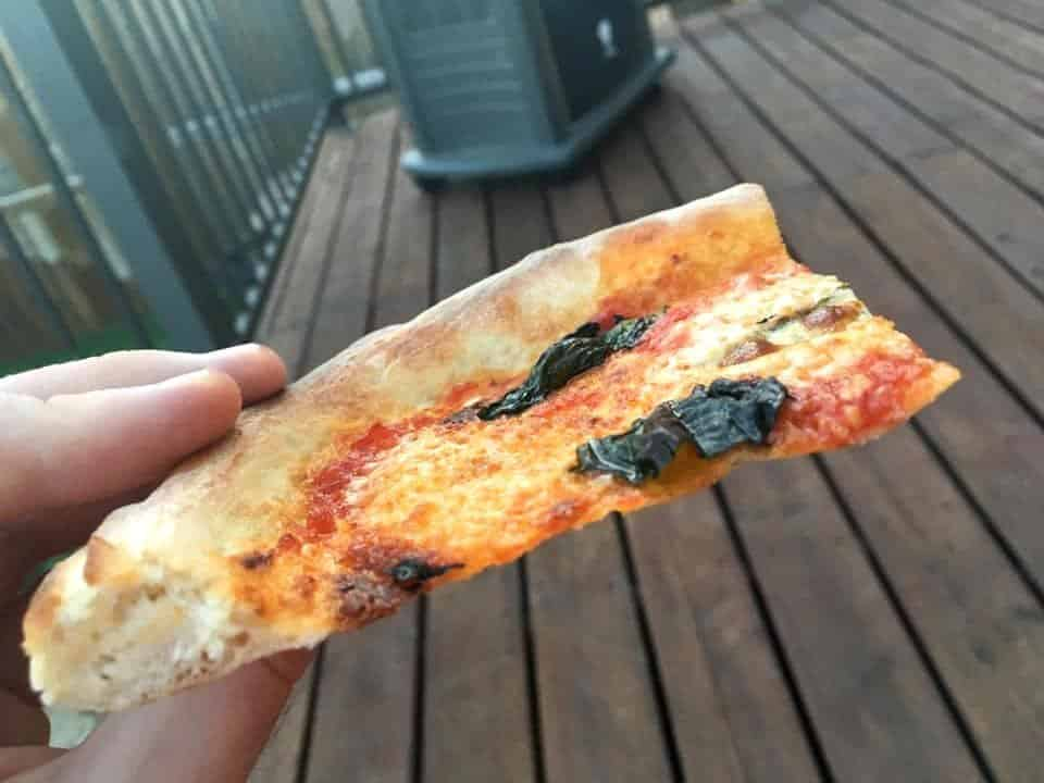Thin crust Neapolitan pizza made at home using a baking steel