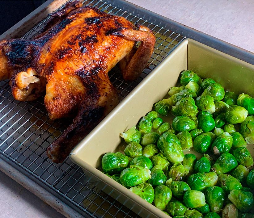 Brussels Sprouts cooked in the Anova Precision Oven.