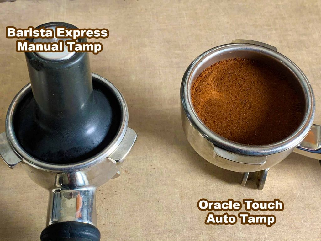 Manually tamping coffee grounds on the Breville Barista Express vs. automatic tamping on the Oracle Touch