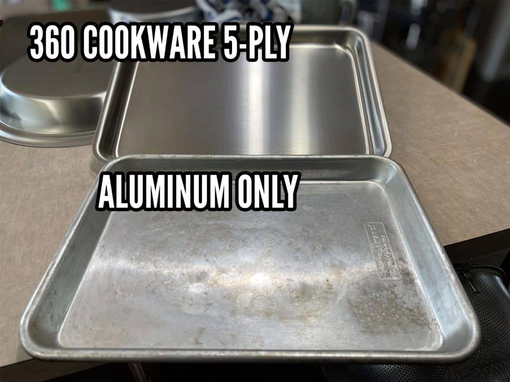 aluminum vs stainless steel triply 5ply baking sheet cleaning 2